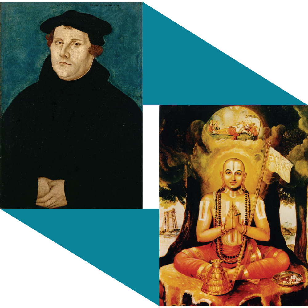A portrait painted of Martin Luther, by Lucas Cranach der Ältere in 1529 appears in the top left, connected by triangles of dark turquoise to a painted portrait of Ramanuja by Debanjon shown in the bottom right.