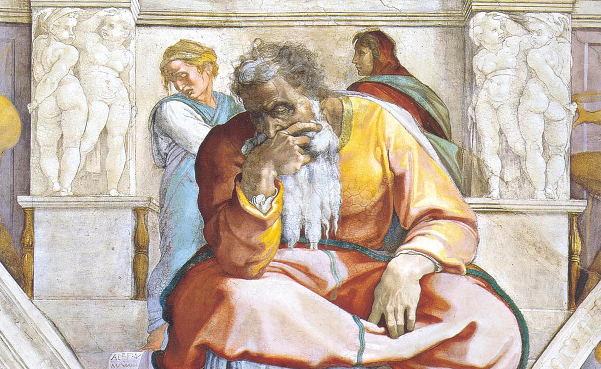 Jeremiah, as depicted by Michelangelo on the Sistine Chapel ceiling. An old man wearing robes of orange and yellow, with a long white beard and sweeping gray and white hair. His hand is over his mouth as he looks downward with a forlorn expression. Sculpted columns with cherubs appear in the background, with two women carrying similarly sad expressions.