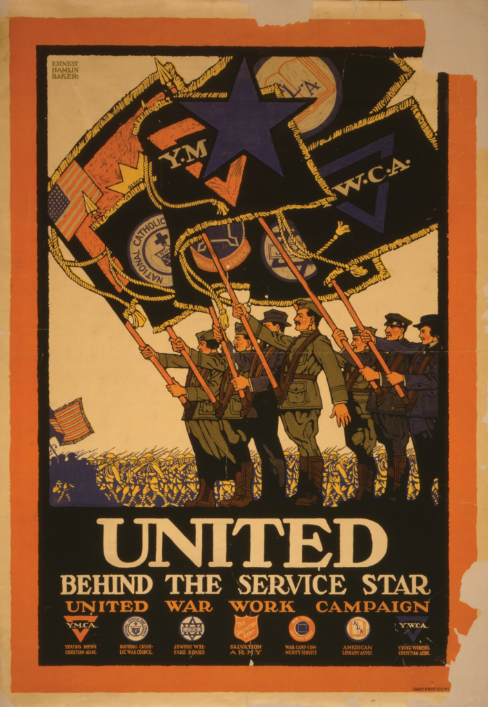 Poster showing flags of various service organizations flying at a military parade.